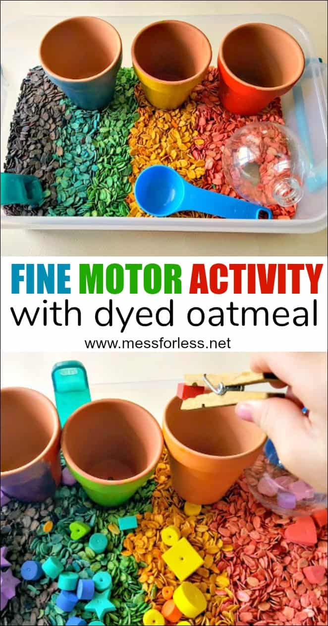 This fine motor skills activity is lets kids practices important skills while engaging in a fun sensory activity. Learn how to color oats and incorporate them into a fun fine motor activity. #finemotor #finemotorskills #finemotorskillsactivity