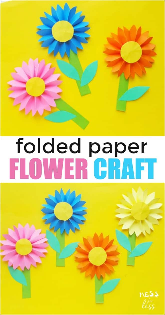 It is so easy to make these paper flower craft! Kids can make them in a variety of colors and they can be used on home made greeting cards. #kidscrafts #kidsactivities #papercrafts #flowercraft