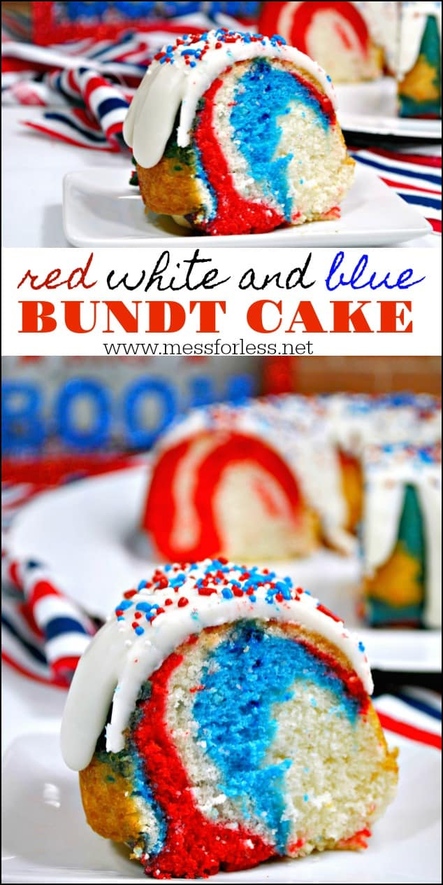 This Red White and Blue Cake looks complicated but it can be made with some easy shortcuts. It will impress your guests and can be served at any patriotic holiday like Memorial Day or the 4th of July. #4thofjuly #patrioticdesserts #bundtcake