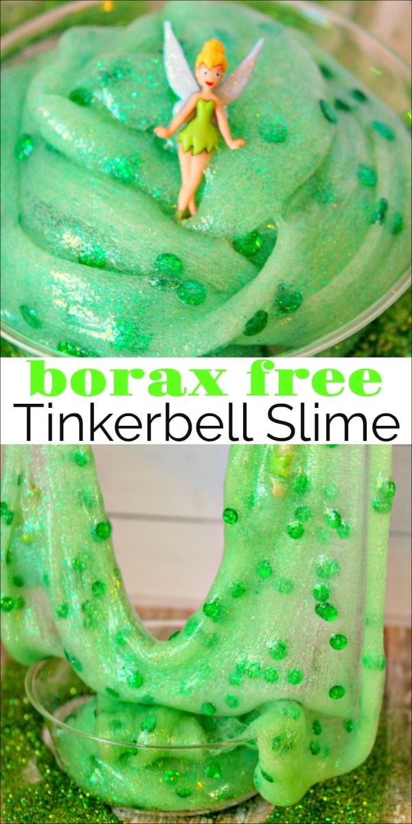 We are big Disney fans in our house and my kids especially love Tinkerbell. I loved learning how to make Tinkerbell slime without borax. The kids love this super stretchy slime recipe. #slime #slimerecipe #boraxfreeslime