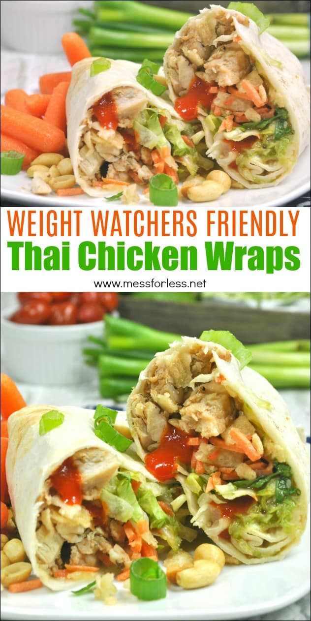 These Weight Watchers Thai Chicken Wraps are just four points each! Easy to make and assemble. This Weight Watchers recipe is great for lunch or dinner. #weightwatchers #weightwatchersrecipe #healthy #chickenwraps