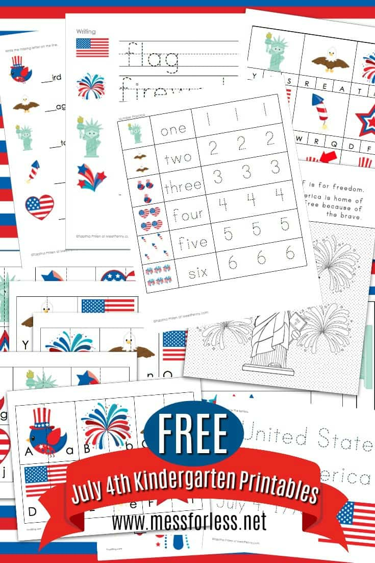 14 pages! These Free 4th of July Worksheets for Kindergarten will keep kids learning in a fun way. Celebrate July 4th with these free Independence day printables. #worksheets #freeprintables #4thofJuly #kidsactivities