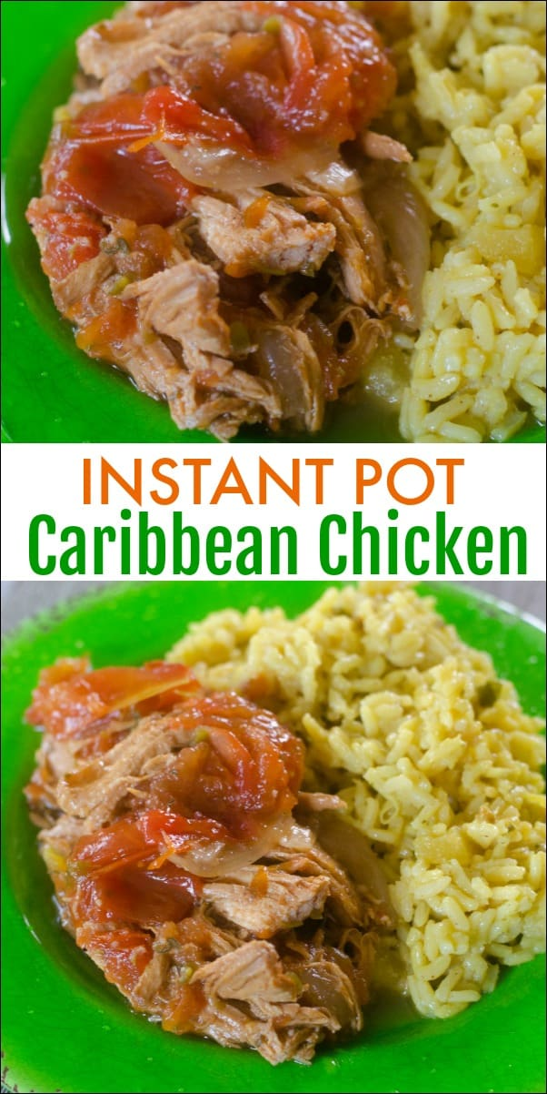 You'll love the flavors found in this Caribbean Chicken in the Instant Pot. Spicy and sweet, this easy meal idea hits the spot. #InstantPot #Chickenrecipe #CaribbeanChicken