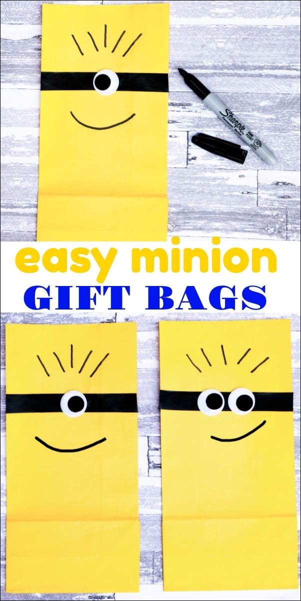 These easy Minion gift bags are perfect for your next Minion party. They are simple to make and would make the best goody bags ever! #minions #minionparty