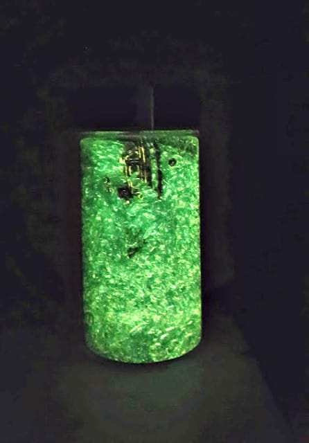 glowing sensory bottle with rice