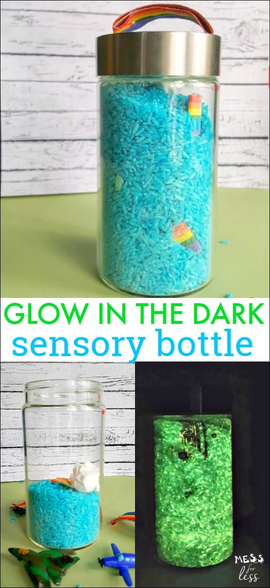 This Glow in the Dark Sensory Bottle is fun to play with during the day or when the lights are out. Kids will love finding the various items in the jar and will be amazed at how it glows! #sensorybottle #sensoryjar #glowinthedark