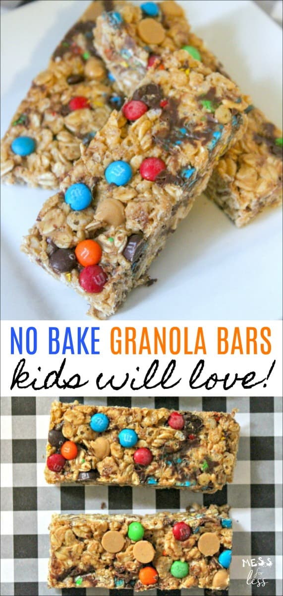 You'll never buy store bought granola bars again once you try these easy no bake granola bars. They are super easy to make and kids love them. Very easy to personalize with your choice of mix-ins. #recipe #granolabars #nobake