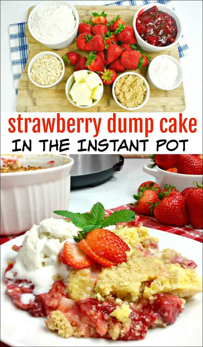 This Strawberry Dump Cake in the Instant Pot is such an easy dessert to make. You'll love the strawberry flavor and how quickly it cooks up. #instantpot #dumpcake