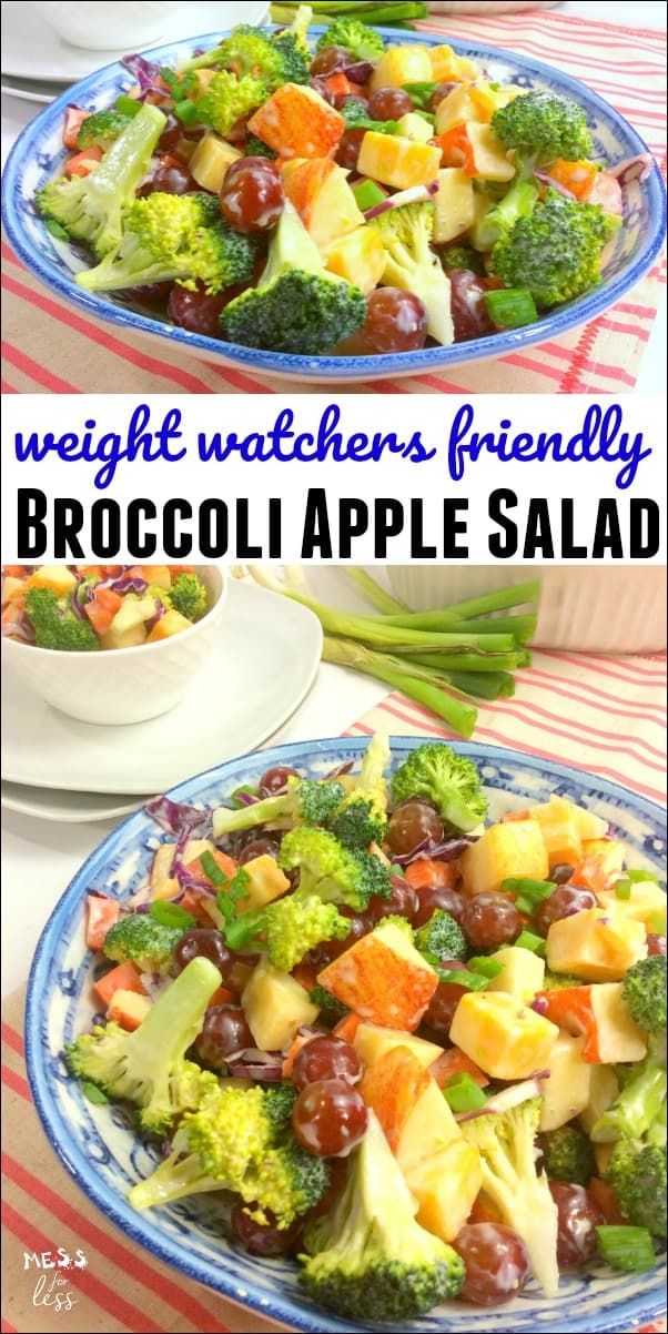 This Weight Watchers Friendly Broccoli Salad makes a tasty low point lunch. At just 2 points per serving, this will leave you feeling satisfied while staying on program. #weightwatchers #weightwatcherssalad #weightwatchersrecipe
