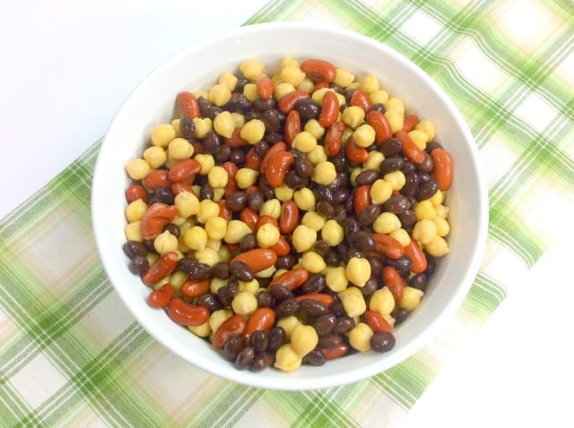 kidney beans black beans and garbanzo beans