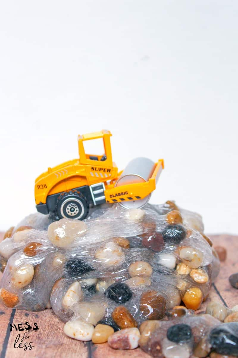 toy truck on top of rock slime