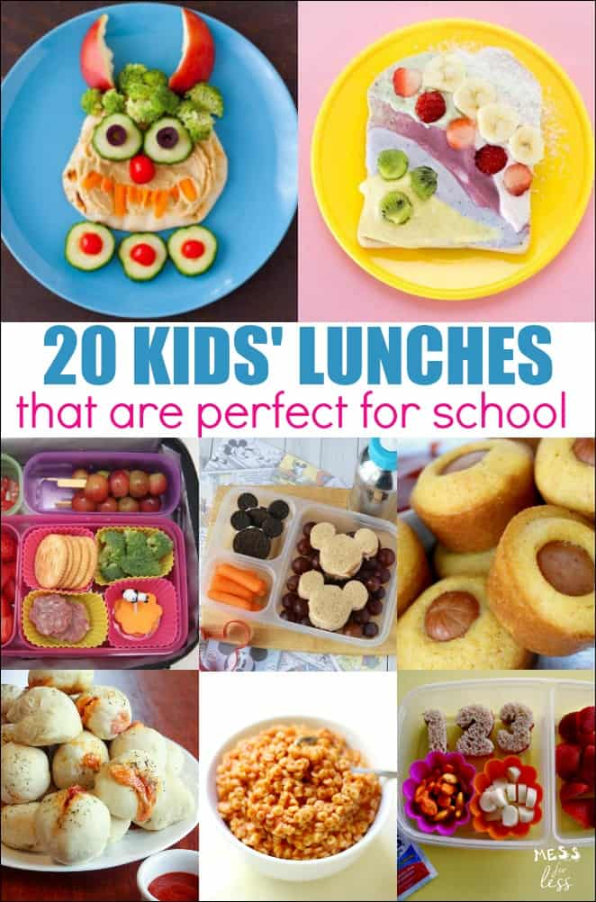 These 20 Ideas for Kids' Lunches, will help you start the school year off on the right foot. You can also serve them up at home on the weekends. These lunches are not only nutritious, but they are food that your kids will actually eat. #kidslunches