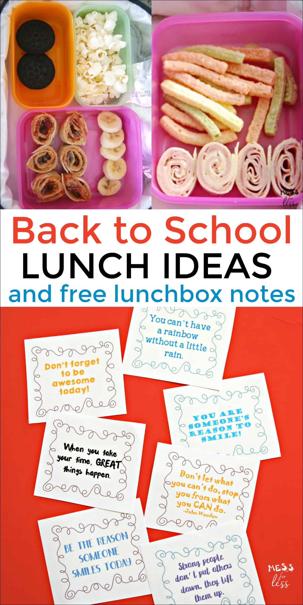 photo about Printable Lunch Notes titled Again in the direction of Higher education Lunch Programs and Lunchbox Notes - Mess for Significantly less