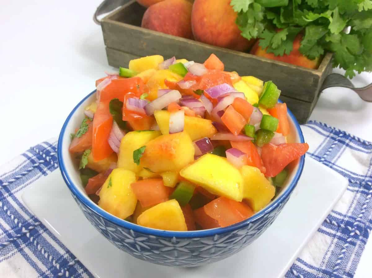 peach salsa in bowl