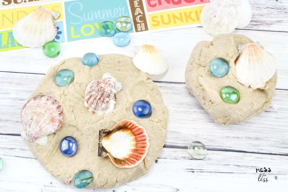 sand playdough with shells and glass beads
