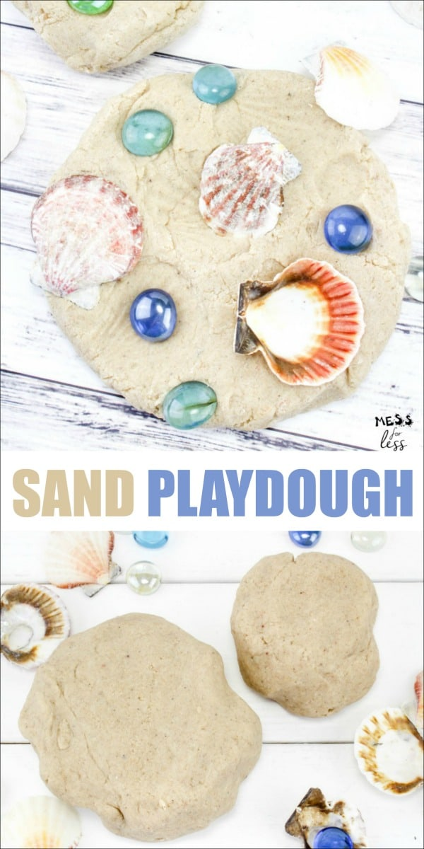 This easy sand playdough recipe provides a fun sensory experience for kids. It is easy to make and virtually mess free for kids to play with. Almost as fun as a day at the beach! #playdough #playdoughrecipe #sensoryplay