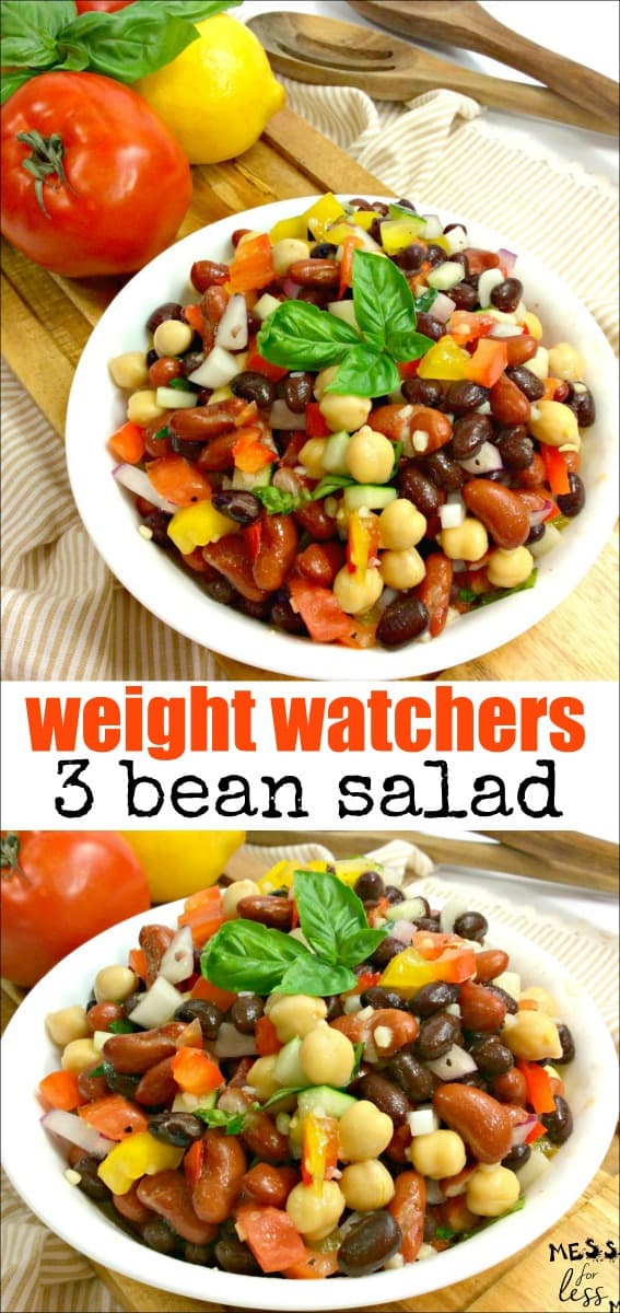 This Weight Watchers 3 Bean Salad Recipe is super easy to make and so tasty! At just 3 points per generous serving, it is the perfect side dish. #weightwatchers #3beansalad #recipes