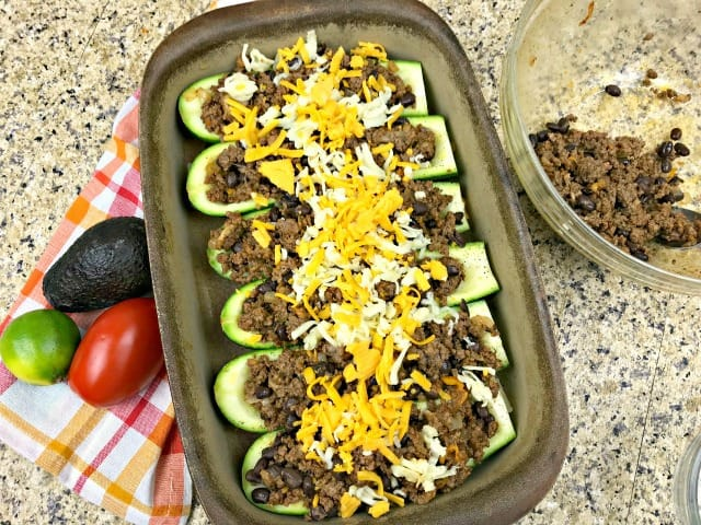 zucchini taco boats with cheese