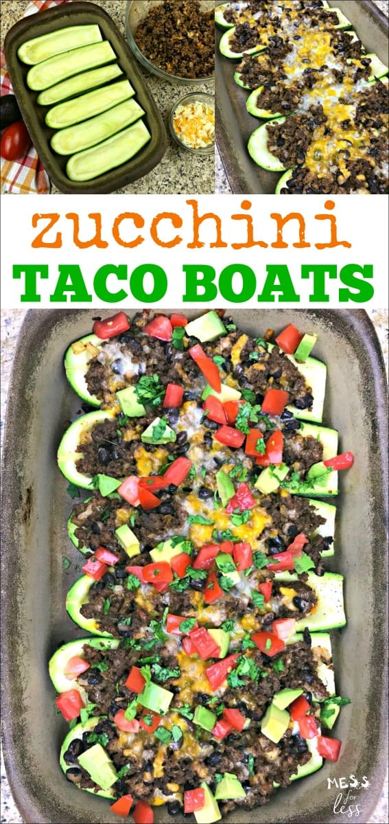 It is zucchini season and there is no better time to make these Zucchini Taco Boats. They are delicious and filling and a great way to get kids to eat veggies. Enjoy all your favorite taco flavors in a new way. #recipes #zucchinitacoboats