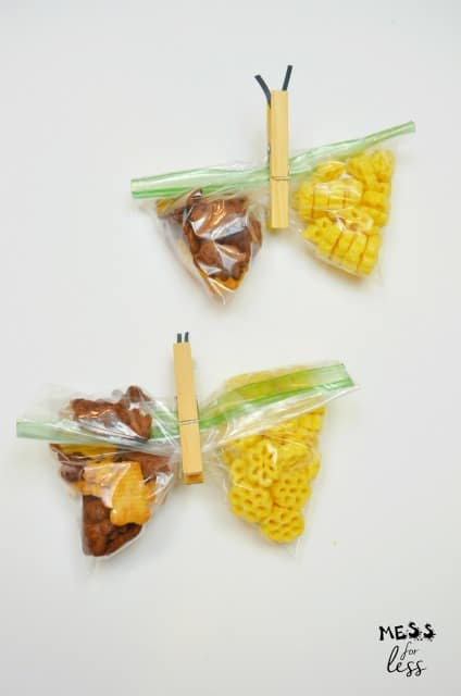 clothes pins on zip top bag snack
