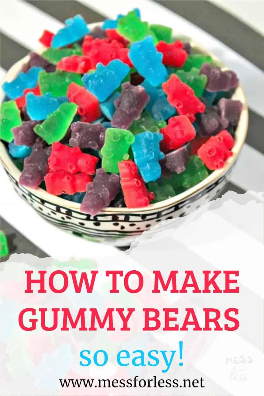homemade gummy bears in a bowl