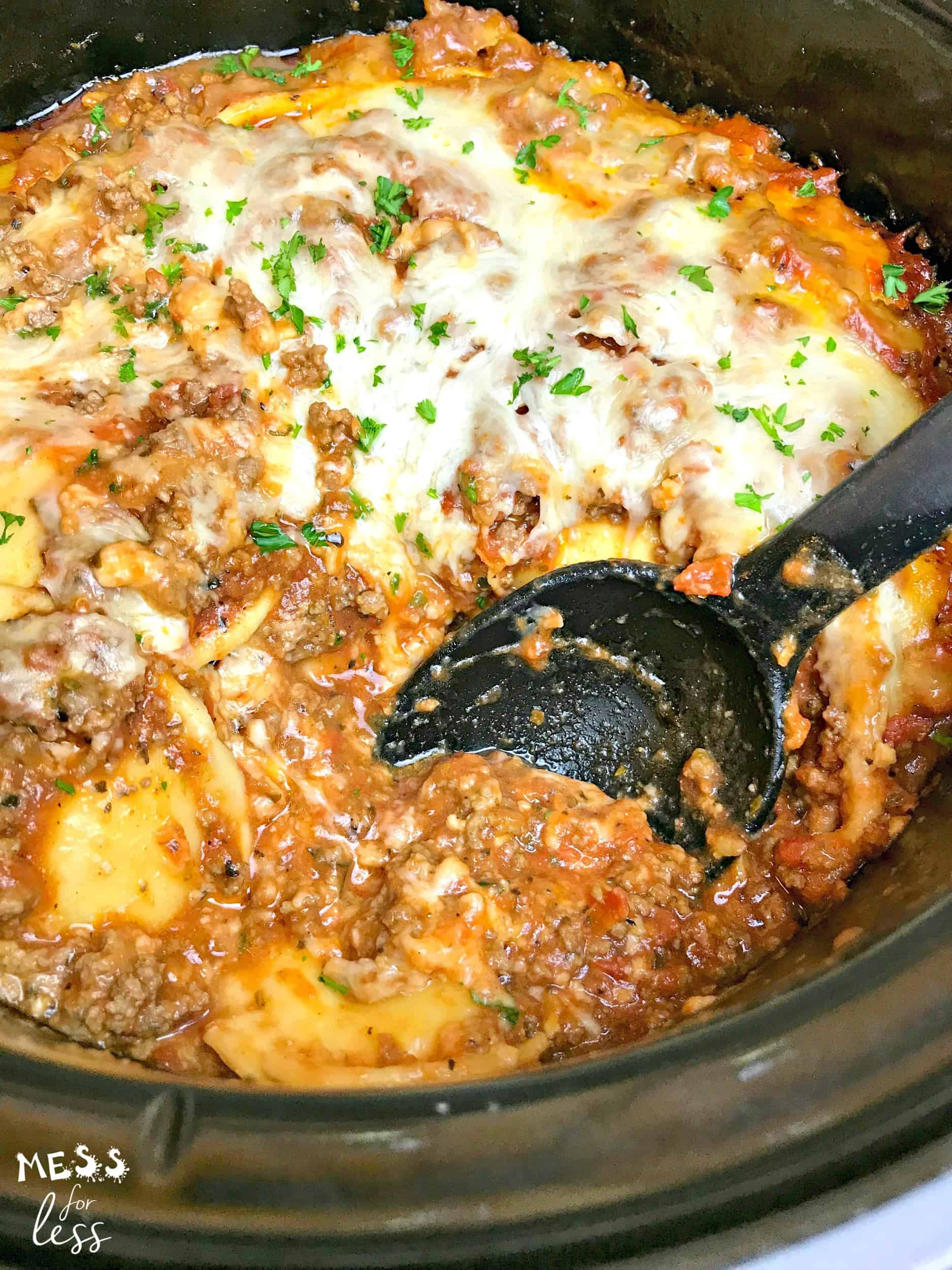 Ravioli Lasagna in the Crock Pot