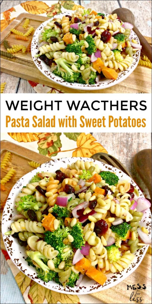 This Weight Watchers Pasta Salad with Sweet Potatoesis the perfect fall salad. At just 3 points per serving, this makes an excellent side dish or enjoy a larger serving as a meal. #weightwatchers #fallsalad #pastasalad #recipe