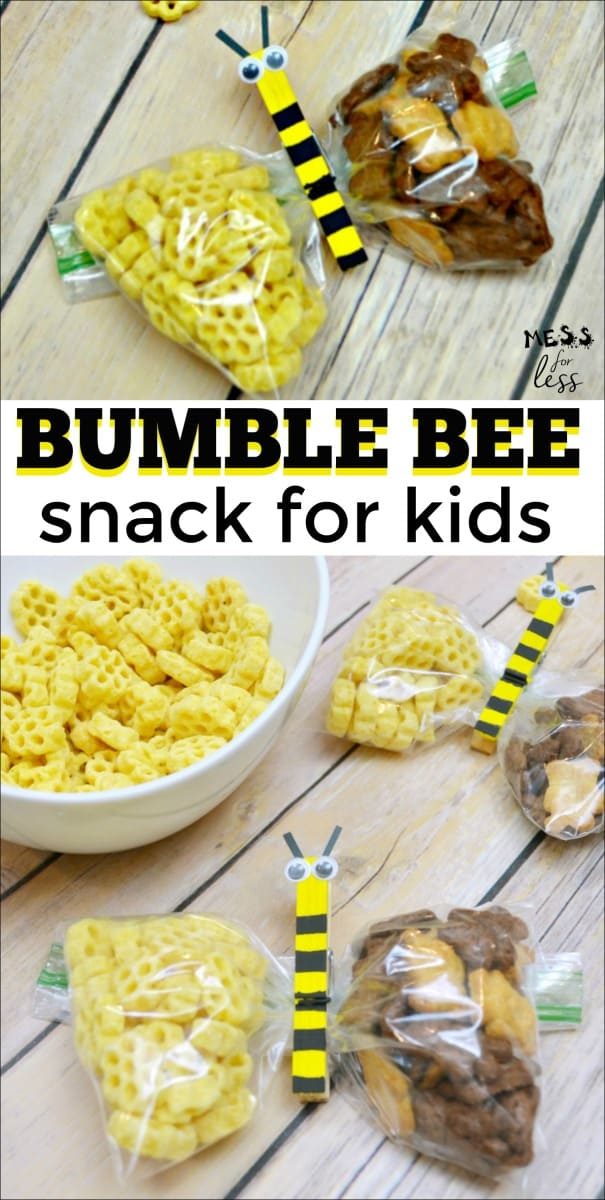 Kids will love this adorable Bumble Bee Kids Snack! Delicious and super cute! Perfect for parties or classroom snacks. #kidsnack