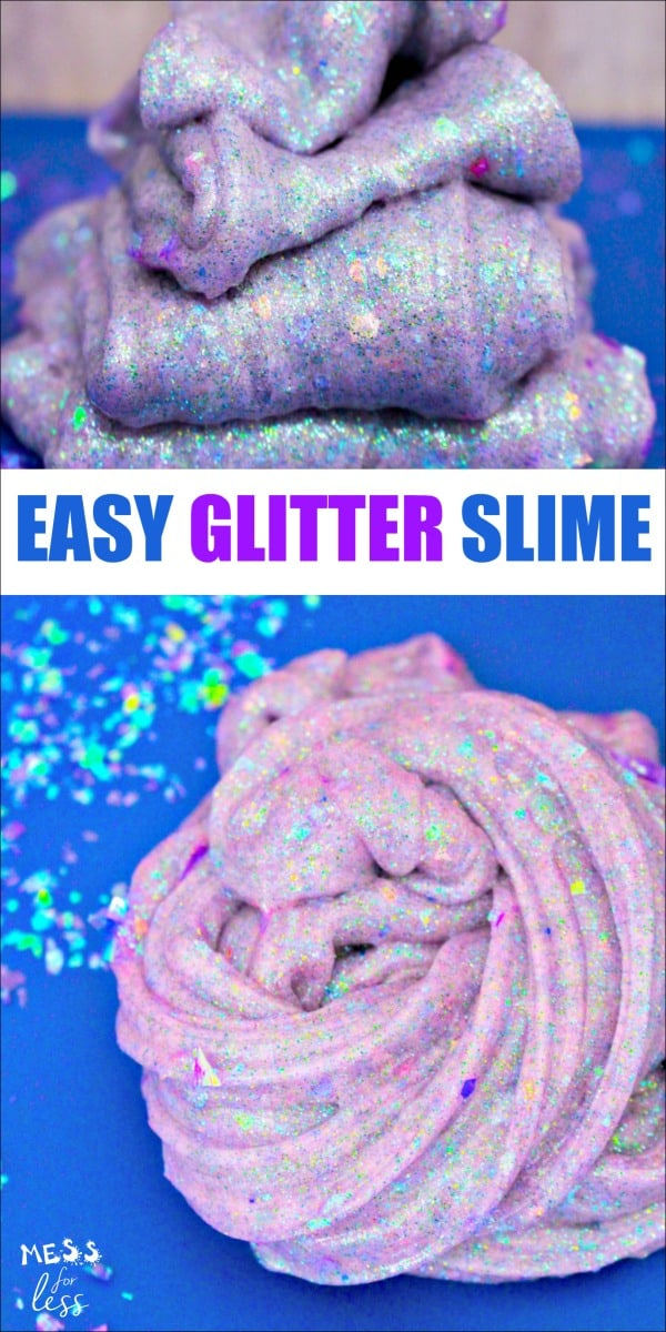 How to make glitter slime - this easy glitter slime is so sparkly and pretty! This slime recipe is on you must try! #slime #slimerecipe