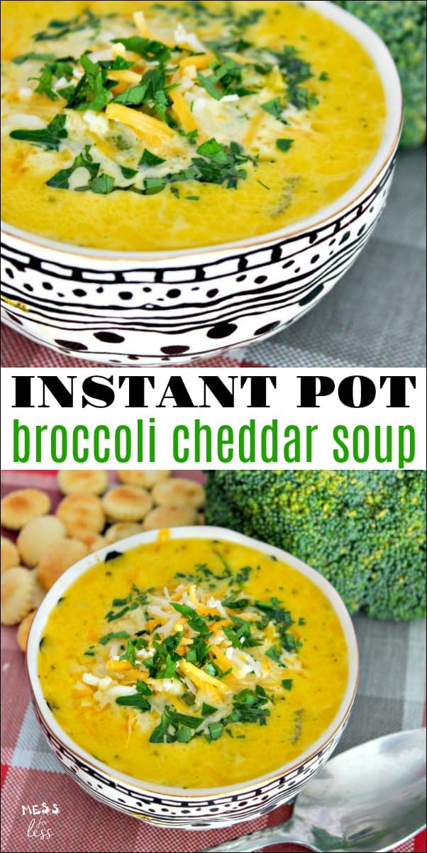 This Instant Pot Broccoli Cheddar Soup is perfect for a chilly fall evening. It takes no time to make is full of cheesy goodness! #InstantPot #souprecipe #broccolicheddarsoup