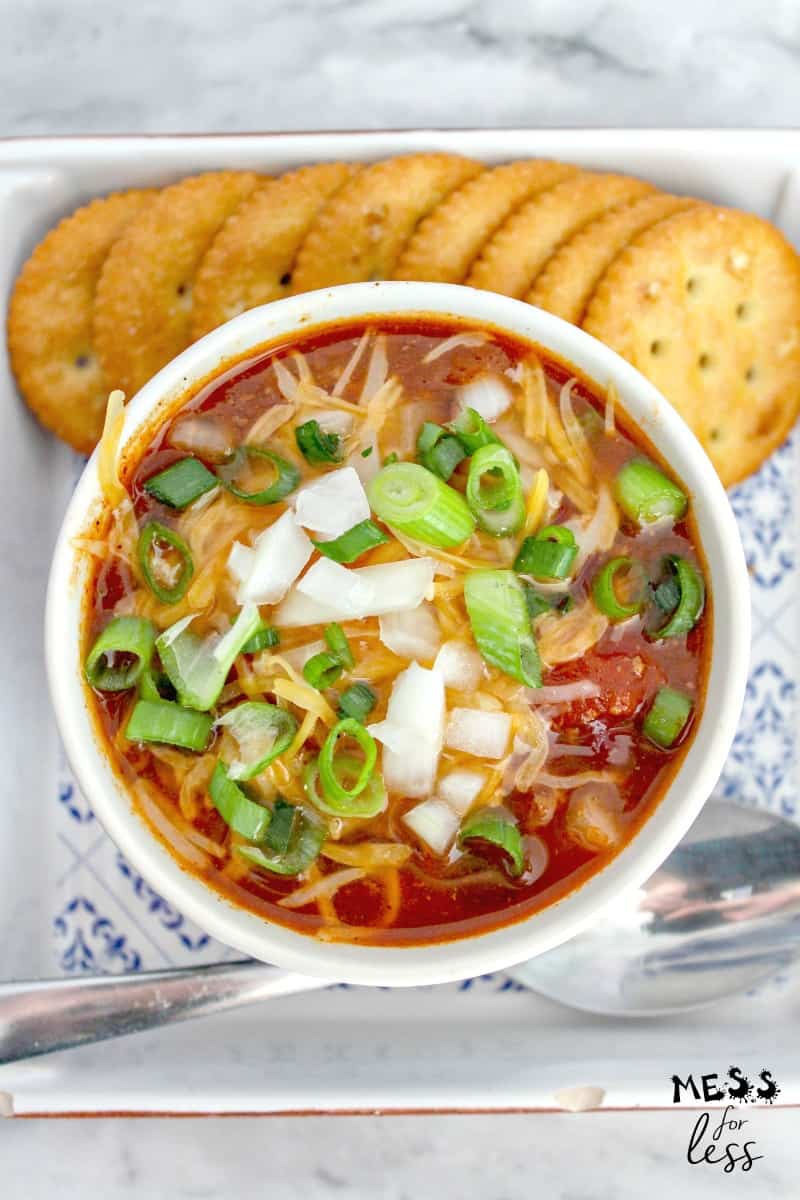 instant pot chili in a bowl with crackers