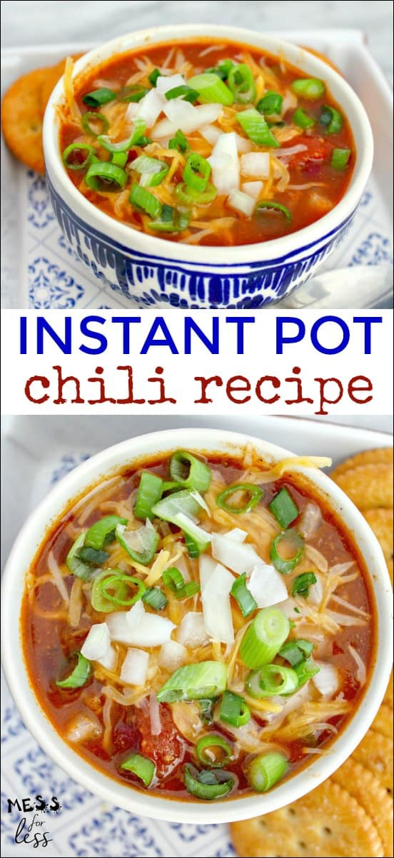Chili is always a family favorite and it is so easy to make in the Instant Pot. This Instant Pot Chili Recipe is ready in a fraction of the time it takes to make traditional chili. #chilirecipe #chili