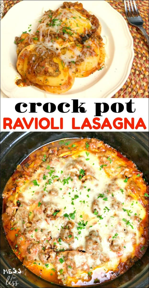 With just a few simple shortcuts, you can make lasagna without a big production. By making Ravioli Lasagna in the Crock Pot, you can eliminate many of the steps involved and make a dinner the entire family will love! #crockpot #slowcooker #crockpotlasagna