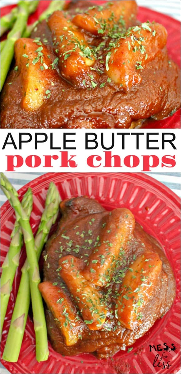 This Apple Butter Pork Chop Recipe brings favorite fall flavors to life and smells divine when cooking. Plus it is super simple it is to make. #porkchoprecipe #recipe