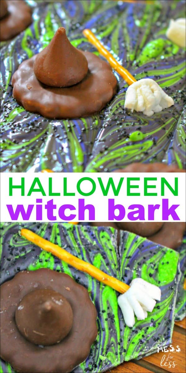 Today I am sharing a simple recipe for making Halloween Witch Bark. This is such a fun recipe because the toppings make it look like a witch has melted into the bark. Think Wizard of Oz and you'll get the idea. #Halloween #witchbark #halloweensnack