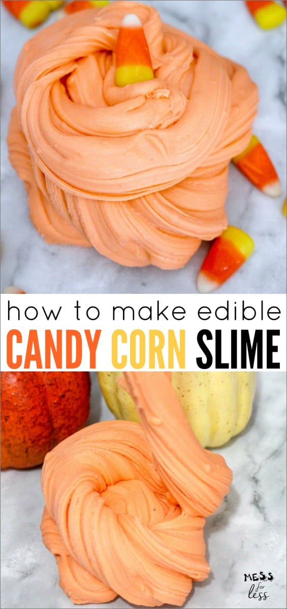 Learn How to Make Edible Candy Corn Slime that kids will love! You just need a few ingredients to make this fun slime and the best part of all is it is completely edible. #halloween #slime #slimerecipe