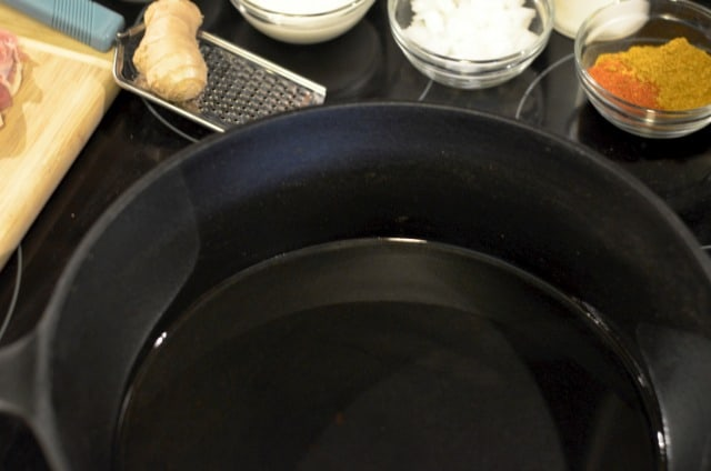 oil cooking in a skillet