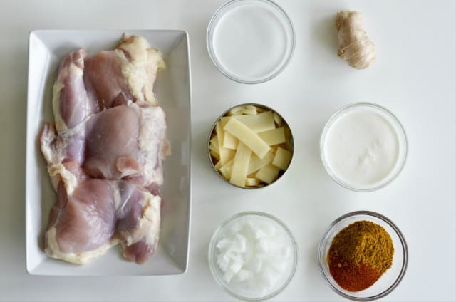 ingredients for coconut curry chicken