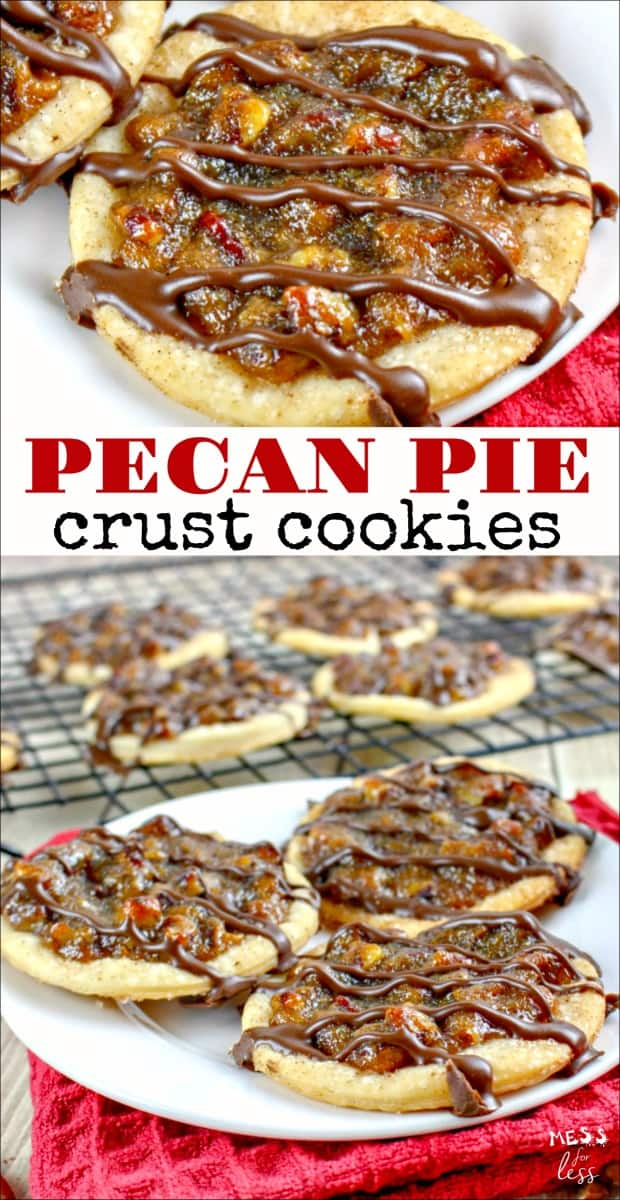 These Pecan Pie Crust Cookies may look complicated, but thanks to a supermarket shortcut, they are as easy as pie to make. These cookies pack all the flavors that you love in pecan pie into a delicious cookie. #cookies #cookierecipe #cookieexchange #christmascookieexchange