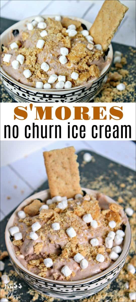 This S'Mores No Churn Ice Cream Recipe is perfect to make next time you have a craving for s'more. No ice cream machine needed! #nochurnicecream #icecream #smores