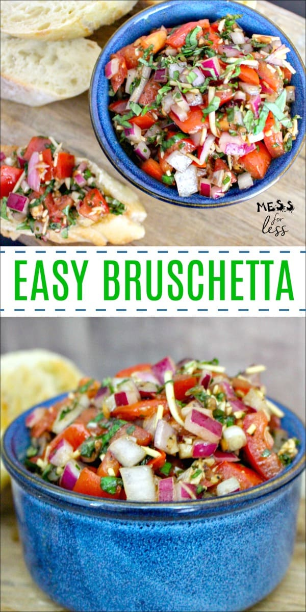 Are you looking for a quick party appetizer that is delicious and sure to please? Then look no further than this Easy Bruschetta Recipe, which comes together in just minutes. #bruschettarecipe #easyrecipe #recipes