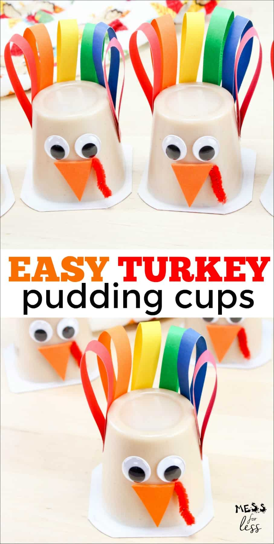 These Turkey Pudding Cups are perfect for a classroom snack for a Thanksgiving party. You can also easily make these for your own Thanksgiving celebration. #Thanksgiving #ThanksgivingSnack