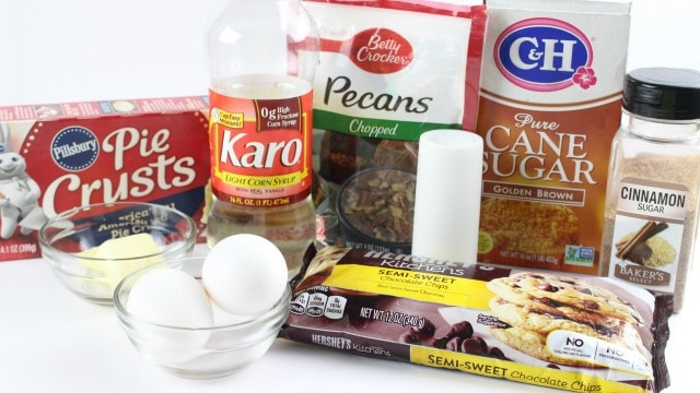 ingredients to make pecan pie crust cookies