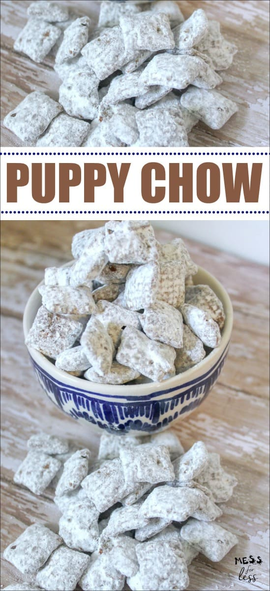This Puppy Chow Recipe is made with Chex, chocolate, peanut butter and powdered sugar. The combination of these ingredients makes a treat that is impossible to put down! #muddybuddies #puppychow #snack