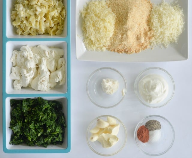 ingredients for spinach artichoke dip recipe