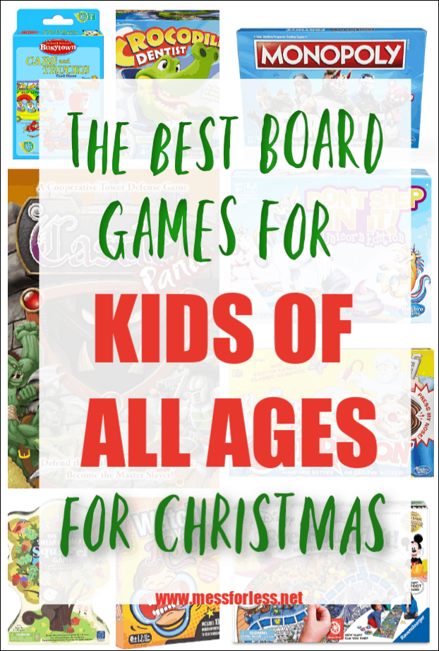 To make your holiday shopping easier, I have assembled a list of the Best Board Games for Kids that I have found. The are organized by age, so you can find something for every kid on your list. #Christmas #Christmasgifts #boardgames #kidsgifts #birthdaygifts