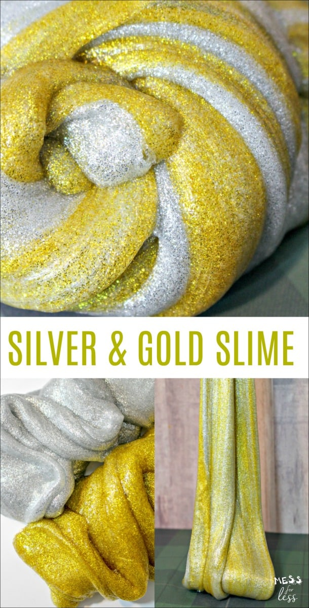 This Silver and Gold Slime Tutorial will teach you how to make the sparkliest slime around! It is super easy to make and your kids will love it! #slime #slimerecipe #kidsactivities