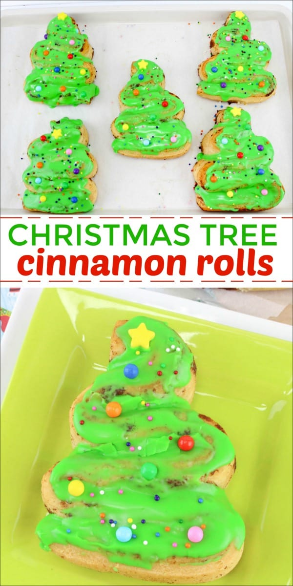 These Christmas Tree Cinnamon Rolls are easy to make and kids love to help decorate them. Such a fun Christmas morning breakfast. #Christmas #Christmasbreakfast #cinnamonrolls