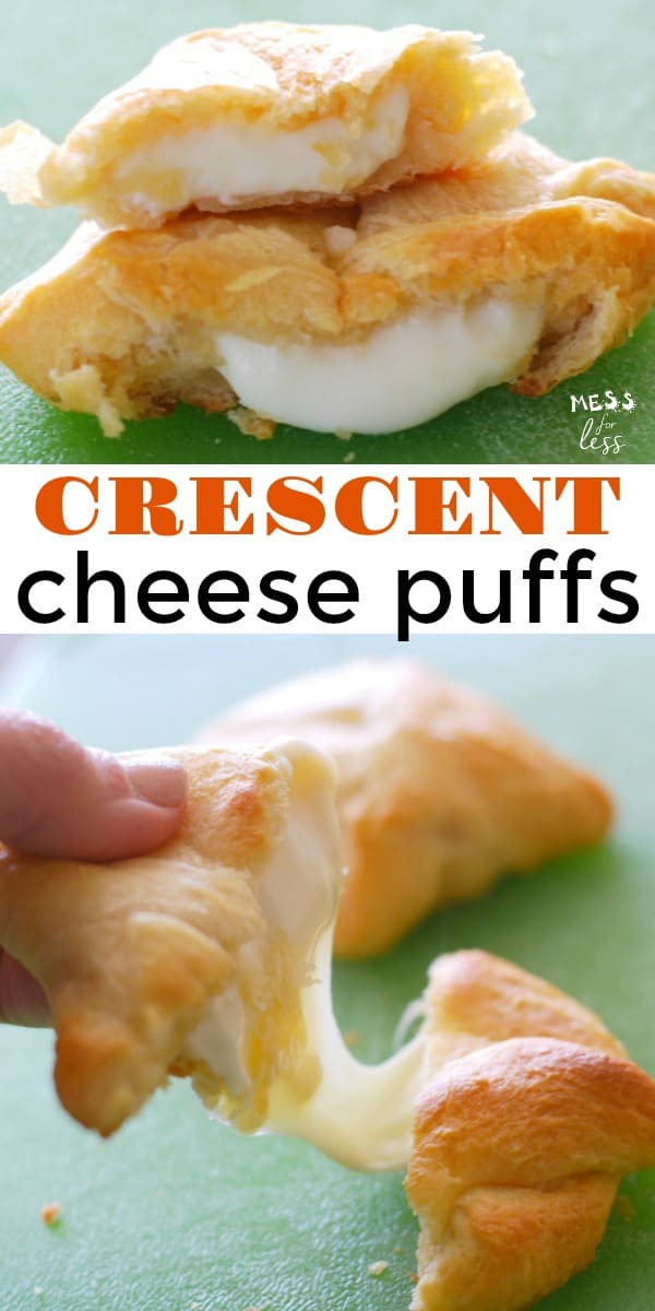 These Crescent Cheese Puffs are great to make as a quick snack for kids or for an easy party appetizer. #crescentrolls #crescentrecipes #cheesepuffs #recipes #easyappetizer