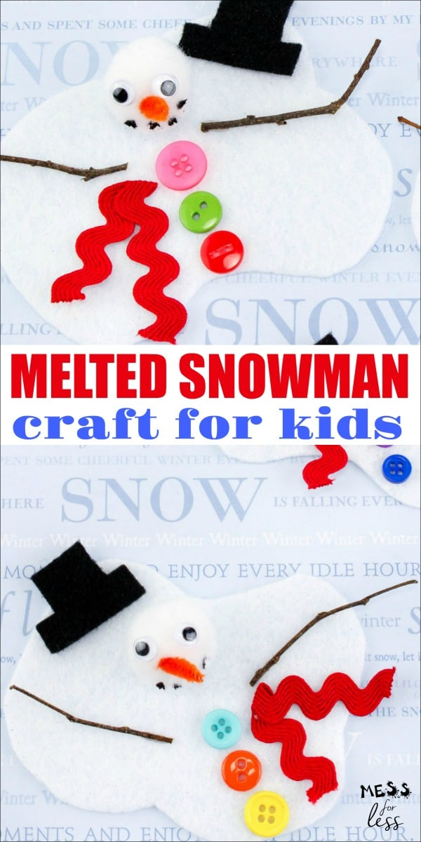 This Melting Snowman Craft for Kids is fun to make and can either be used as is, or can be easily turned into an ornament for your Christmas tree. #Christmascraft #snowmancraft #wintercraft